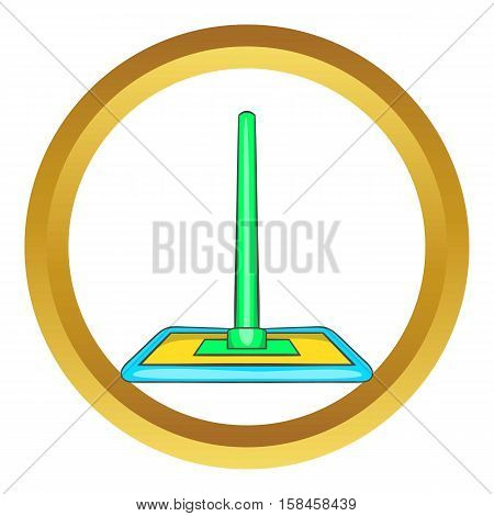 Floor cleaning mop vector icon in golden circle, cartoon style isolated on white background