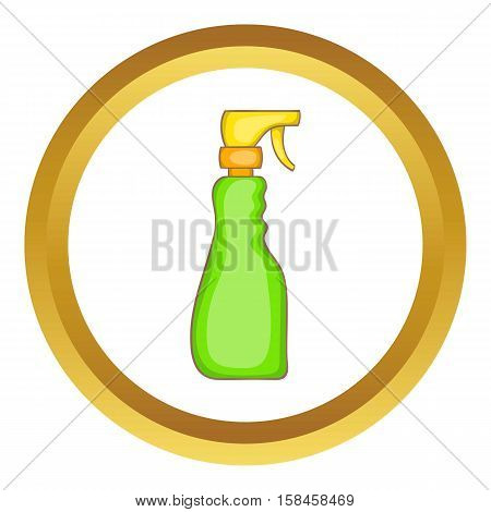Household spray bottle vector icon in golden circle, cartoon style isolated on white background