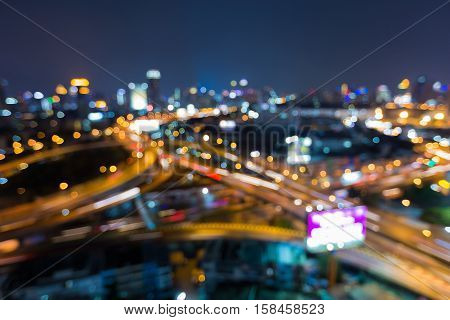 Night blurred lights, highway interchanged overpass, abstract backgroun