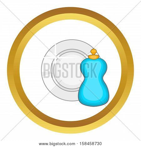 Bottle of dish soap and clean dish vector icon in golden circle, cartoon style isolated on white background
