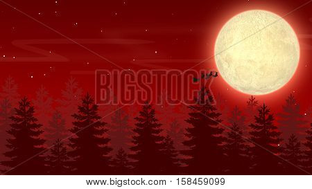 Moon and Pine Trees Background,  Santa Clause going to Moon 2D Illustration, Merry Christmas and New Year Background
