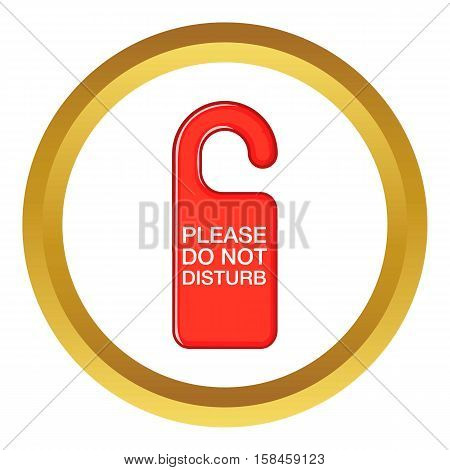 Do not disturb red sign vector icon in golden circle, cartoon style isolated on white background