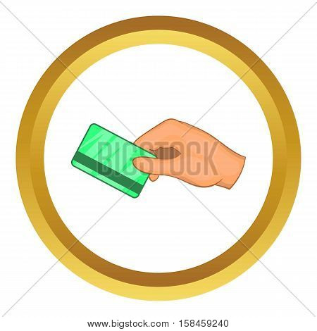 Hand with hotel room key card vector icon in golden circle, cartoon style isolated on white background