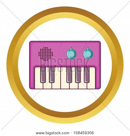 Synth vector icon in golden circle, cartoon style isolated on white background
