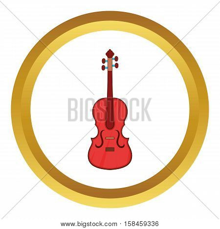 Cello vector icon in golden circle, cartoon style isolated on white background