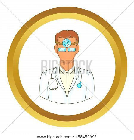 Doctor with stethoscope and reflector frontal of otolaryngologist vector icon in golden circle, cartoon style isolated on white background