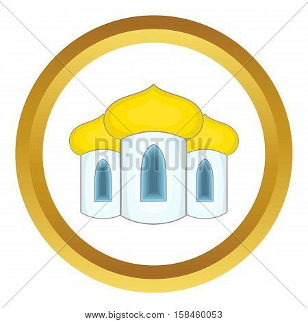 Domes of the church vector icon in golden circle, cartoon style isolated on white background
