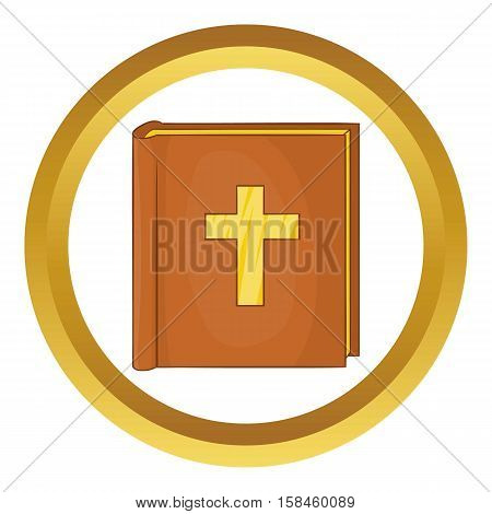 Bible vector icon in golden circle, cartoon style isolated on white background