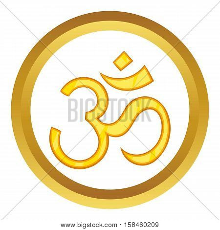Hindu om symbol vector icon in golden circle, cartoon style isolated on white background