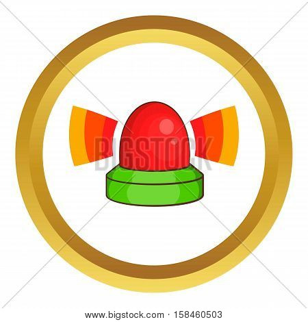Police flasher vector icon in golden circle, cartoon style isolated on white background