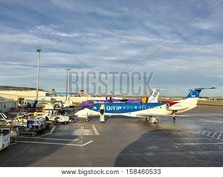 ABERDEEN - NOVEMBER 25: Commercial Aircraft Operations on November 25, 2016 in Aberdeen, Scotland, UK.