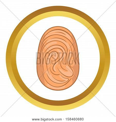 Fingerprint vector icon in golden circle, cartoon style isolated on white background