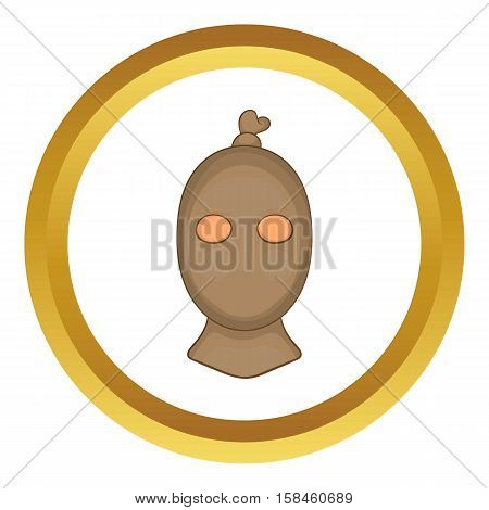 Thief with stocking over his head vector icon in golden circle, cartoon style isolated on white background