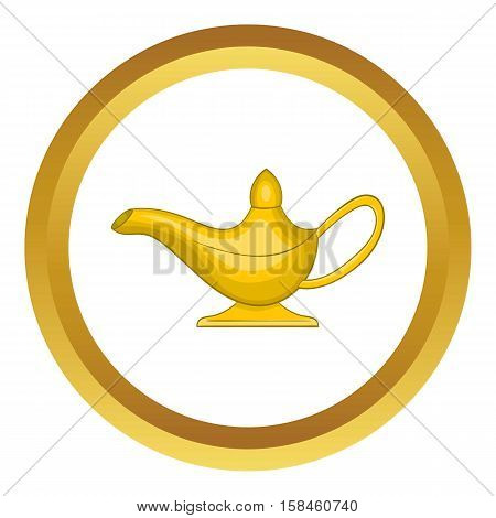 Middle east oil lamp vector icon in golden circle, cartoon style isolated on white background