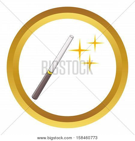 Magic wand vector icon in golden circle, cartoon style isolated on white background