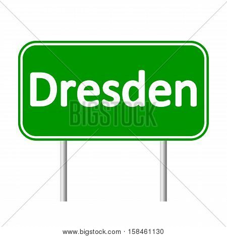 Dresden road sign isolated on white background.