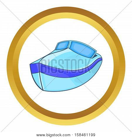 Powerboat vector icon in golden circle, cartoon style isolated on white background