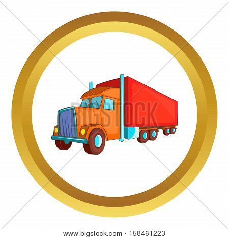 Semi trailer truck vector icon in golden circle, cartoon style isolated on white background