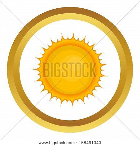Sun vector icon in golden circle, cartoon style isolated on white background