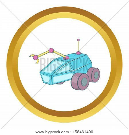 Rover vector icon in golden circle, cartoon style isolated on white background