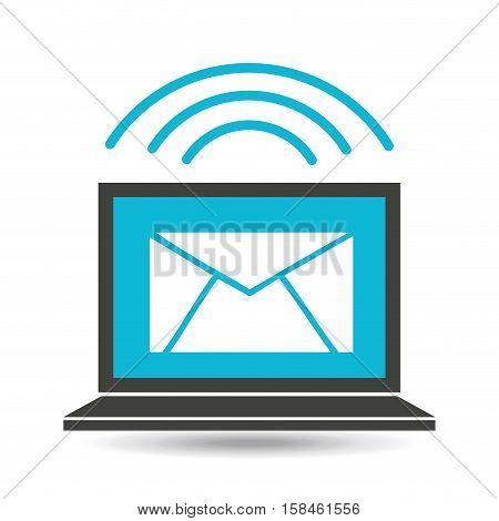 social media laptop email message vector illustration eps 10