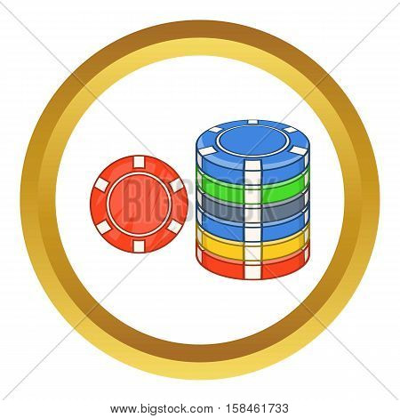Casino chips vector icon in golden circle, cartoon style isolated on white background