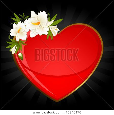 A bouquet of flowers located angle on the illustration of the heart