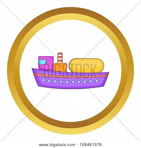 Oil tanker vector icon in golden circle, cartoon style isolated on white background