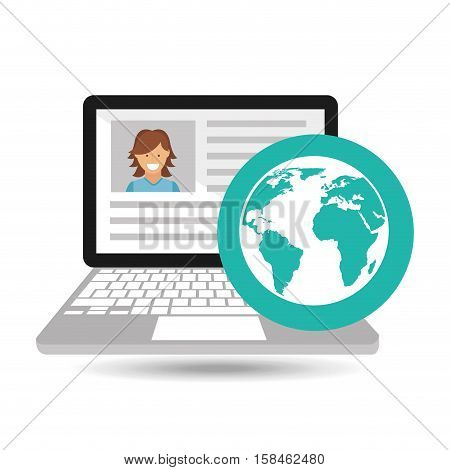 laptop social profile globe icon vector illustration eps 10