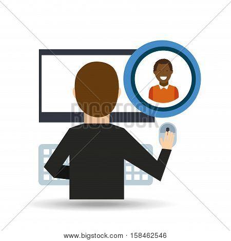 guy afroamerican community social network vector illustration eps 10