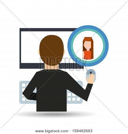 girl long hair community social network vector illustration eps 10