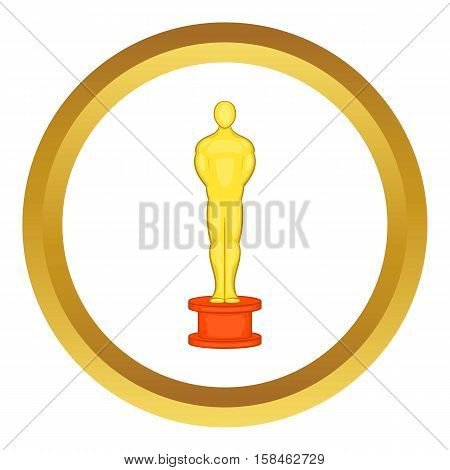 Cinema gold award vector icon in golden circle, cartoon style isolated on white background