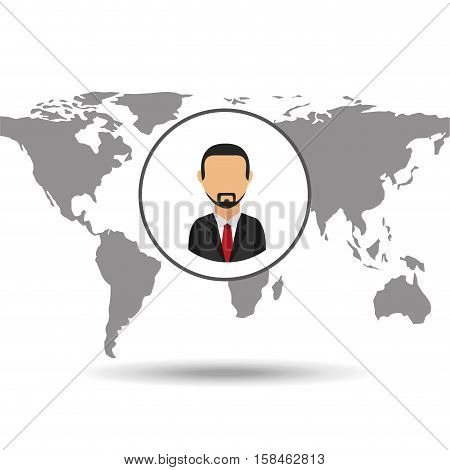 businessman social media world map vector illustration eps 10