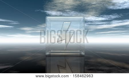 flash symbol in glass cube under cloudy sky - 3d rendering