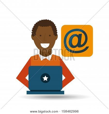 man afroamerican using laptop mail media icon vector illustration eps 10