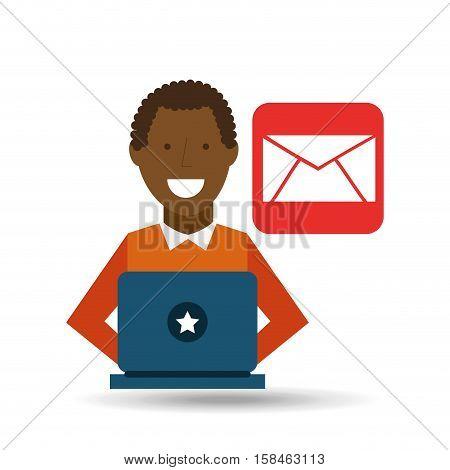 man afroamerican using laptop email media icon vector illustration eps 10