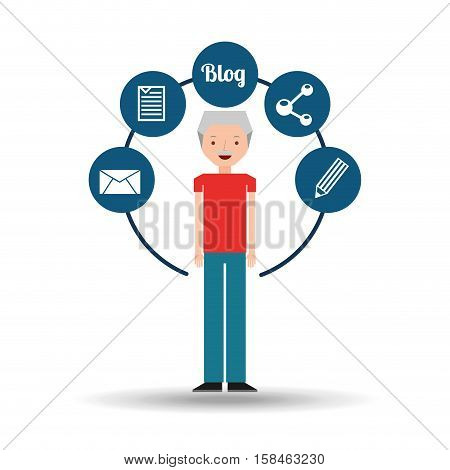 old man standing with social network icon vector illustration eps 10