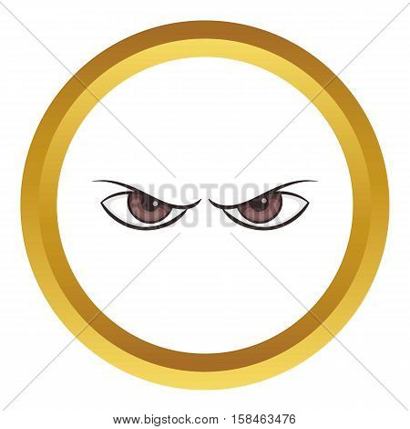 Pair of eyes watching vector icon in golden circle, cartoon style isolated on white background