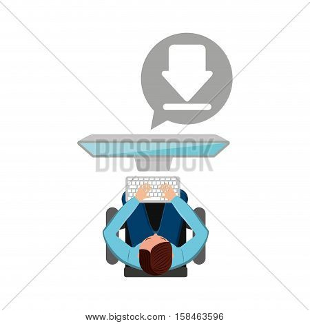 man working computer download media design vector illustration eps 10