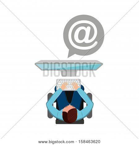 man working computer mail media design vector illustration eps 10