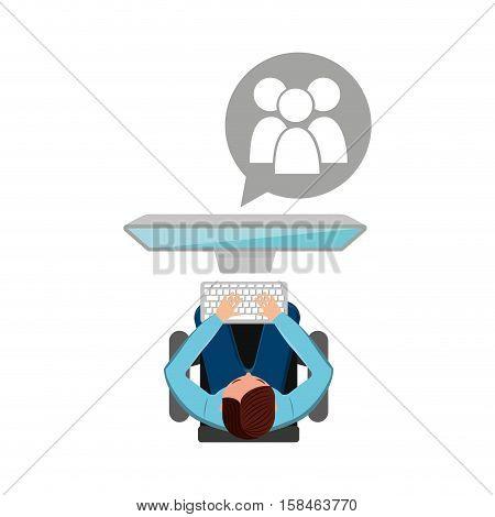 man working computer gro media design vector illustration eps 10