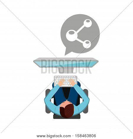 man working computer share media design vector illustration eps 10