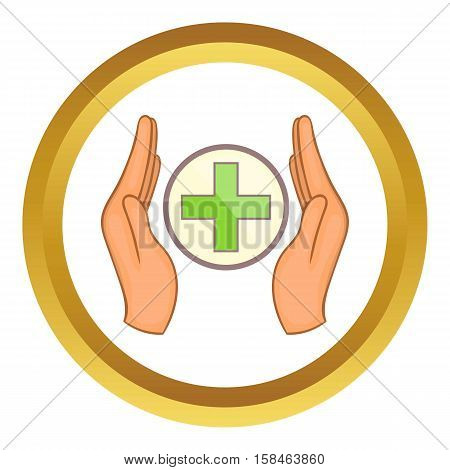 Medicine concept, hands holding cross vector icon in golden circle, cartoon style isolated on white background
