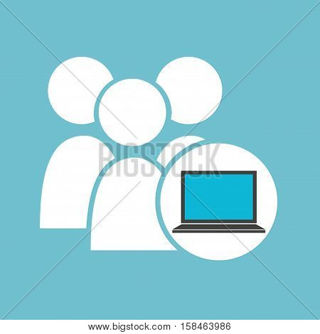 social media laptop gro team vector illustration eps 10