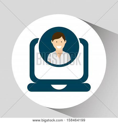 character social laptop media concept vector illustration eps 10