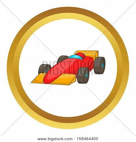 Race car vector icon in golden circle, cartoon style isolated on white background