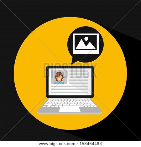 laptop social profile image vector illustration eps 10