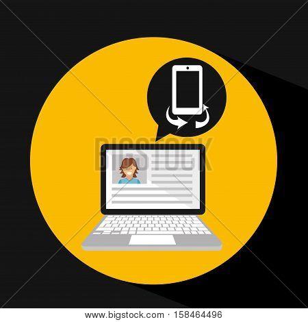 laptop social profile smartph icon vector illustration eps 10