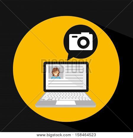 laptop social profile camera icon vector illustration eps 10