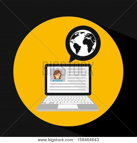 laptop social profile globe icon vector illustration eps 10